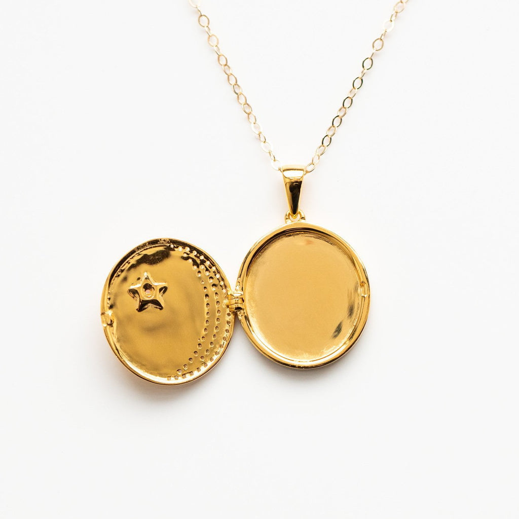 A Dreamers Crescent Moon & Star Locket