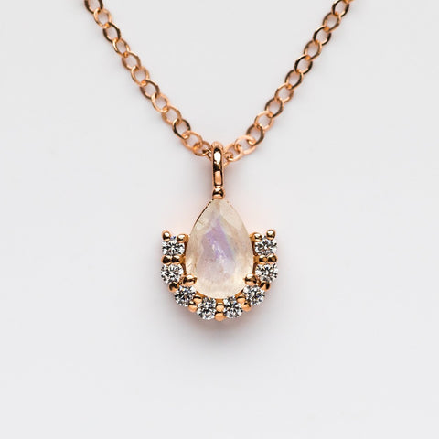 Rose Gold Moonstone & Diamond Ballerina Pendant Necklace - necklaces - La Kaiser local eclectic