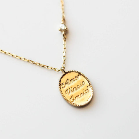 14kt Love Conquers All Diamond Pendant