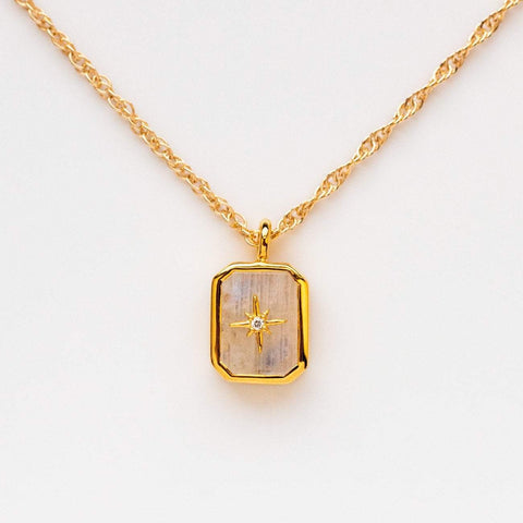 Rainbow Moonstone & Diamond Manifest Your Dreams Pendant Necklace