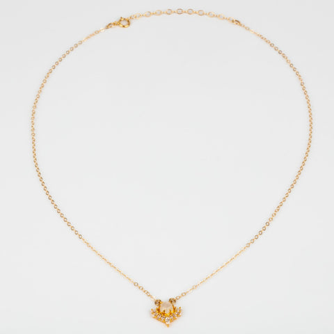Moonstone CZ Yellow Gold Petite Dainty La Kaiser Necklace Pendant