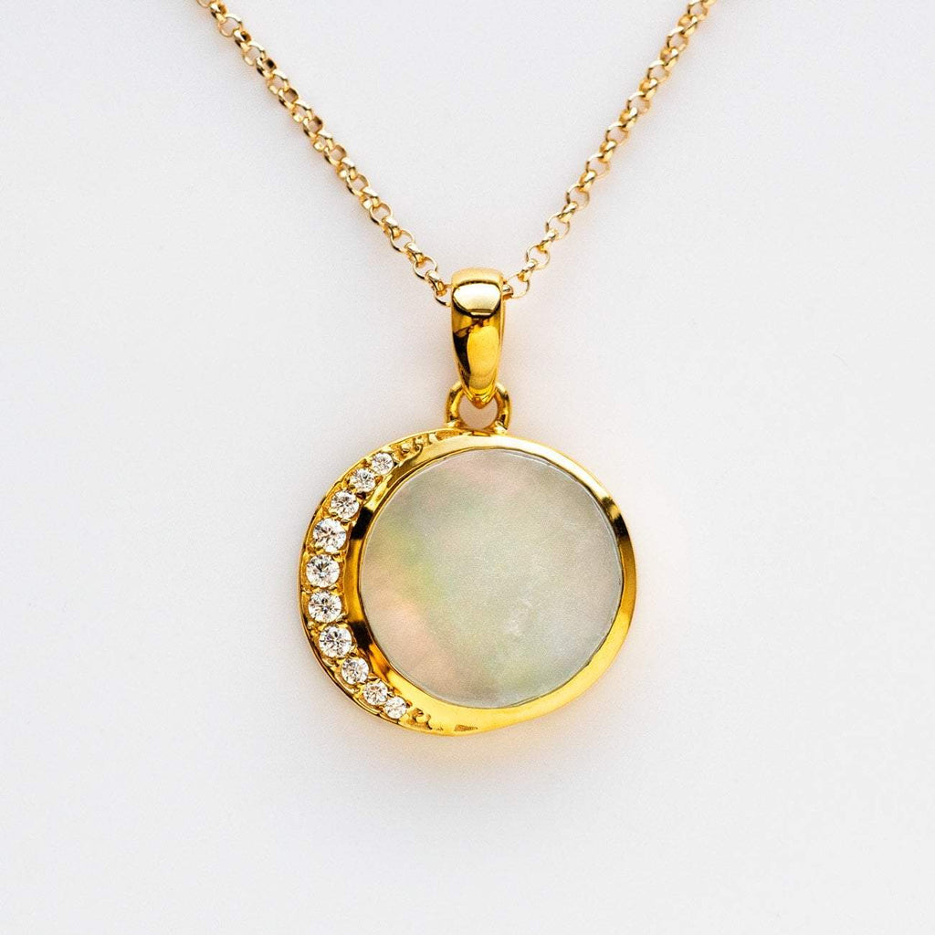 Mother of Pearl Diamond Moon Phase Inspired Pendant Necklace La Kaiser Yellow Gold