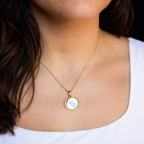Mother of Pearl & Diamond Moon Phase Pendant