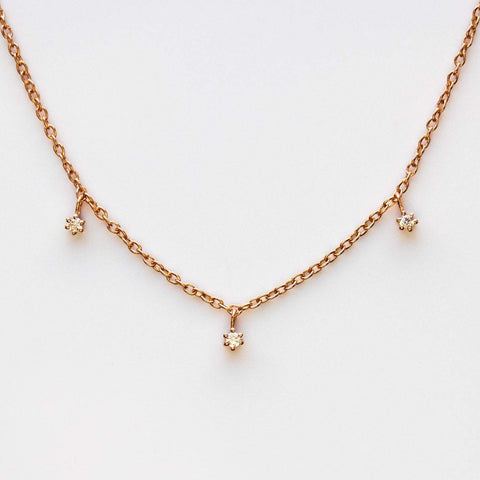 Rose Gold Minimal Simple Diamond Choker Necklace La Kaiser