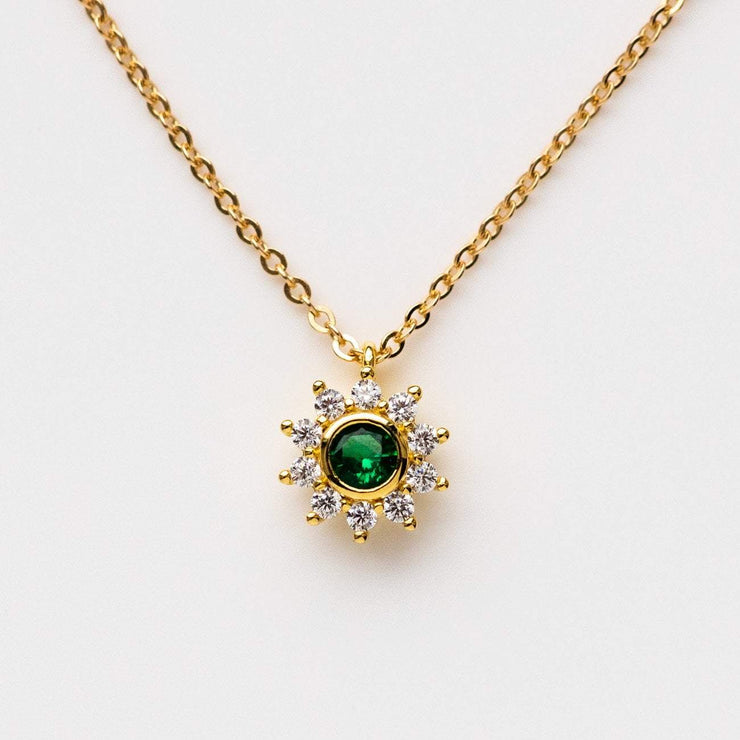 Green Sunflower Necklace With Cz Local Eclectic Give one to that special someone who's the warmth and happiness. local eclectic