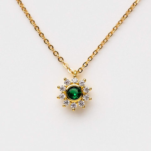 emerald green sunflower necklace cz yellow gold dainty floral jewelry