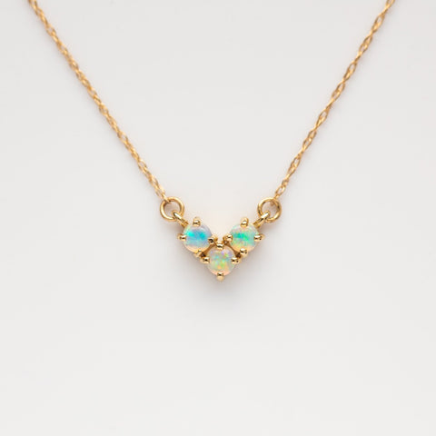14K Gold Opal Trio Necklace