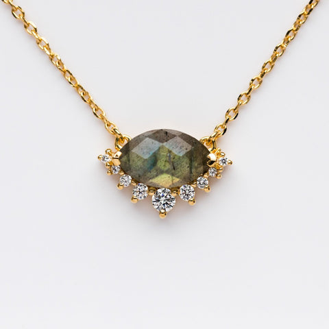 Labradorite & Diamond Silver Linings' Pendant - necklaces - La Kaiser local eclectic