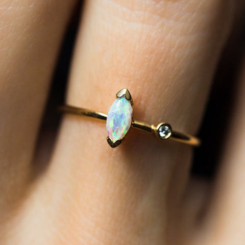 14K Opal & Diamond Marquise Ring