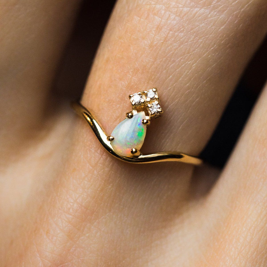 Opal & Diamond Crown Ring - rings - La Kaiser local eclectic