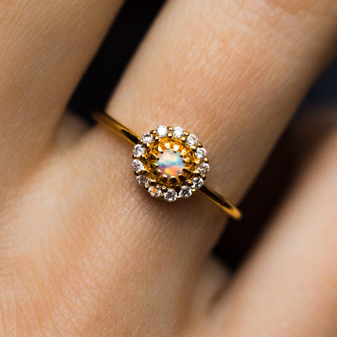 Opal & Diamond Parisian Blossom Ring - rings - La Kaiser local eclectic
