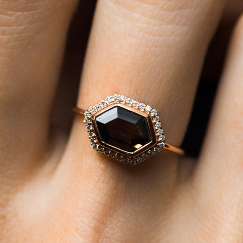 Smokey Quartz and Diamond Royale Ring