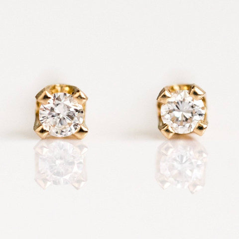 14K Tiny Diamond Stud Earrings - earrings - Liesel Love local eclectic