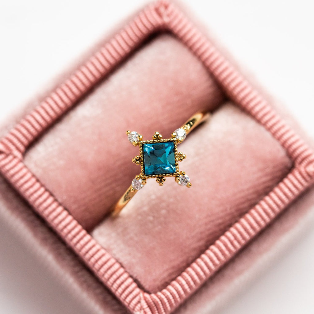 Local Eclectic Exclusive Lovers Tempo 14K Gold Plated Sierra Ring in Aqua