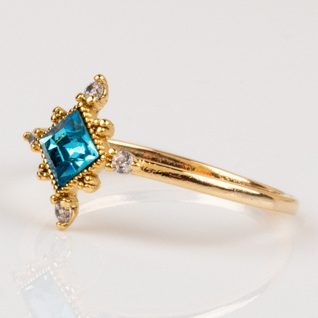 Exclusive Lovers Tempo 14K Gold Plated Sierra Ring in Aqua