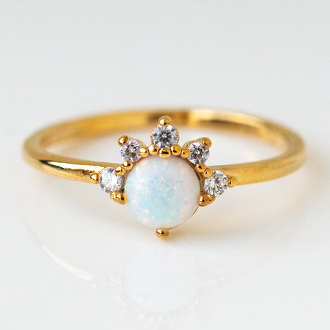 juno opal ring dainty simple modern yellow gold jewelry