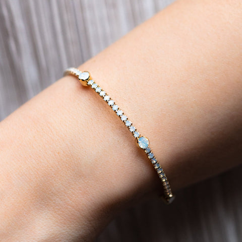 Constellation Bangle with White Opal