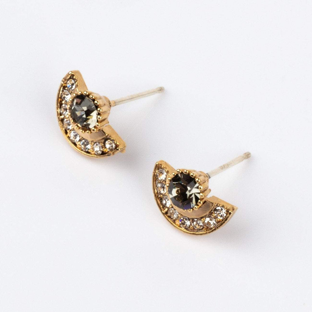 Arc Earrings with Black Swarovski