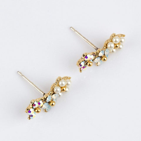 flower ear climbers featuring Swarovski crystals and tiny glass pearls