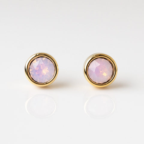 Pink Opal Swarovski Stud Earrings