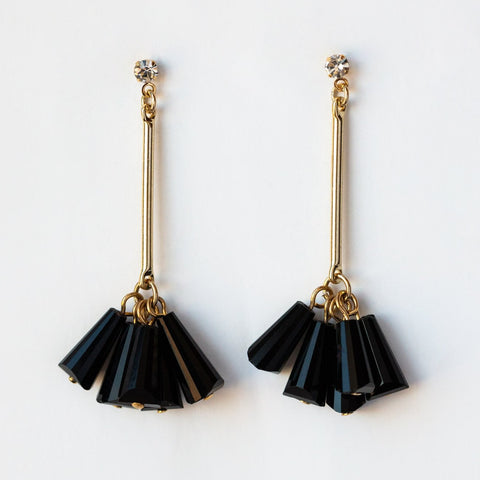 Confetti Drop Earrings in Black
