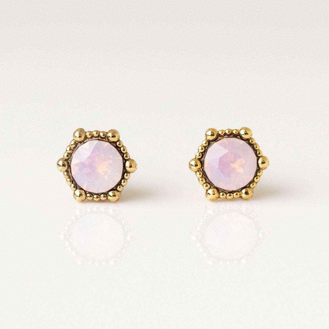 Details about  /Oval Created Pink Opal Stud Earrings Sterling Silver