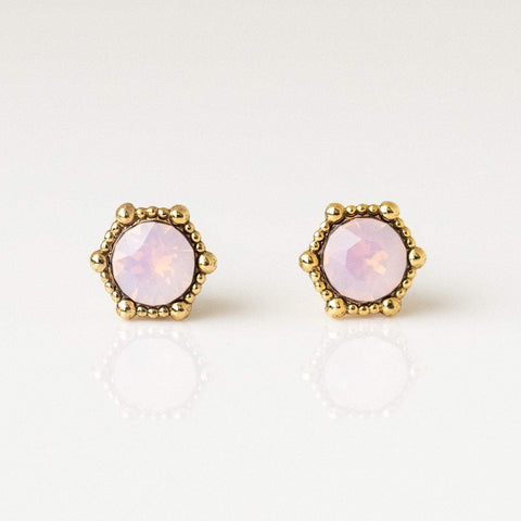Astrid Stud Earrings in Pink Opal