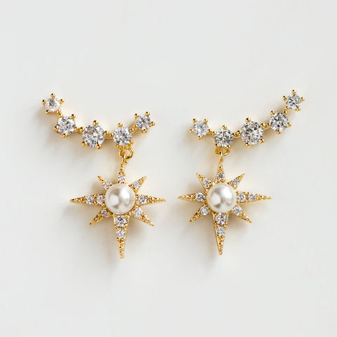 Statement Celestial Ear Climbers Pearl Star Crystals Celestial