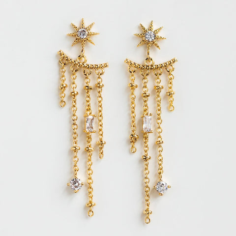Chandelier Statement Celestial Earrings Glass Crystal Yellow Gold Baguette Accents