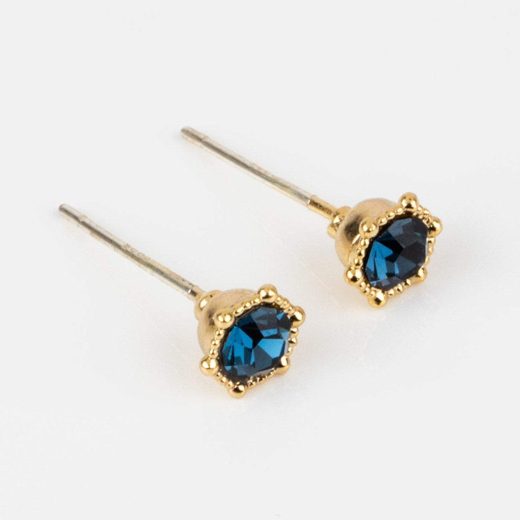 astrid stud earrings blue montana swarovski crystals yellow gold jewelry