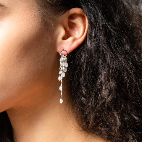cascade drop earrings in white unique statement beaded dainty jewelry