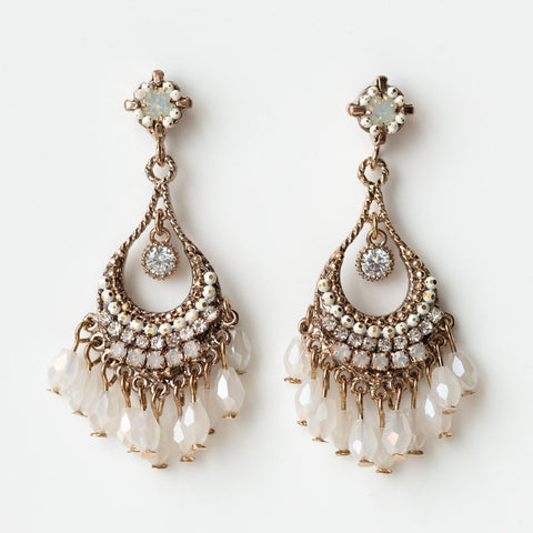 coco beaded chandelier earrings statement dainty modern jewelry