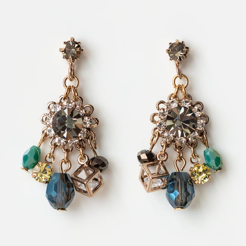 bloom chandelier in black diamond statement dangle earring