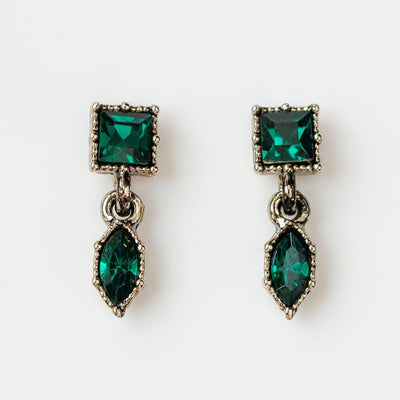 bella drop earrings in emerald green unique dainty stud