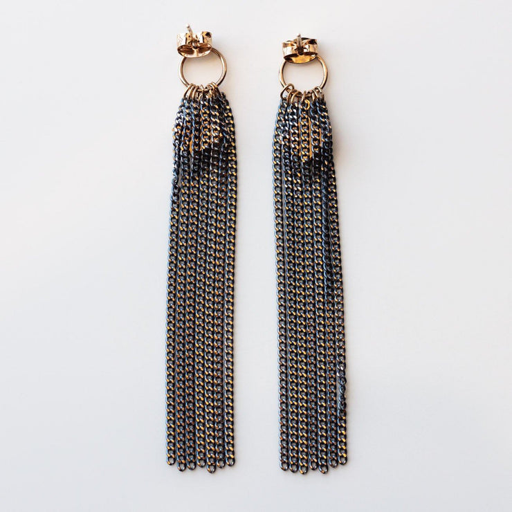 Siene Fringe Earrings in Blue statement dangle earrings