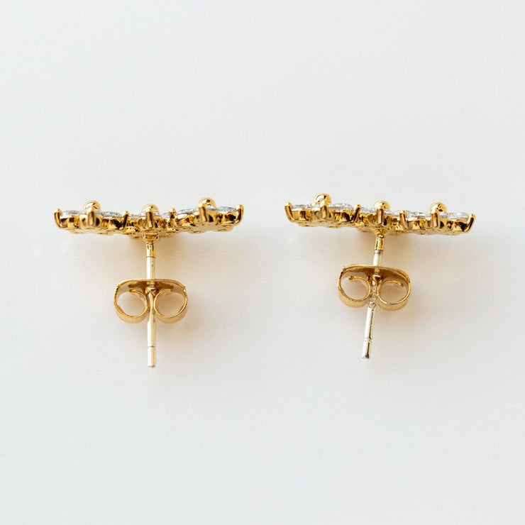 Blossom Climber Earrings in Gold dainty floral yellow gold studs