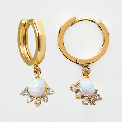 juno hoop earrings dainty opal yellow gold jewelry