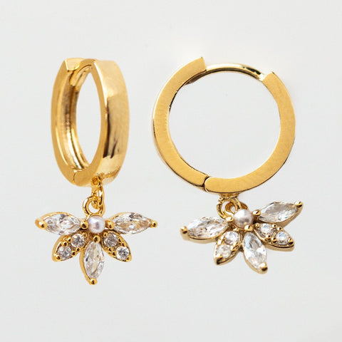 Harlowe Hoop Earrings dainty floral inspired yellow gold hoops