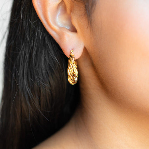 Jessie Hoop Earrings twisted statement yellow gold hoops