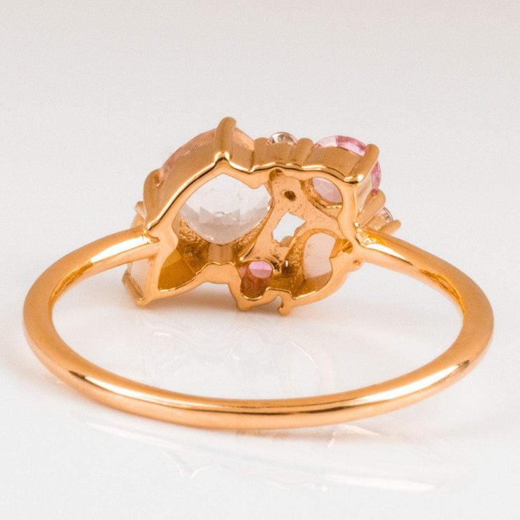morganite ring, moonstone ring, opal ring, rose gold ring