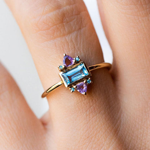 African Amethyst Blue Topaz Funky Yellow Gold Ring