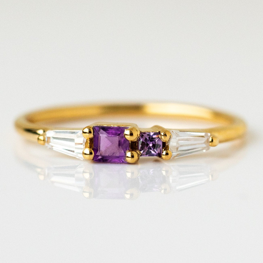 Purple Amethyst Zircon Yellow Gold Ring