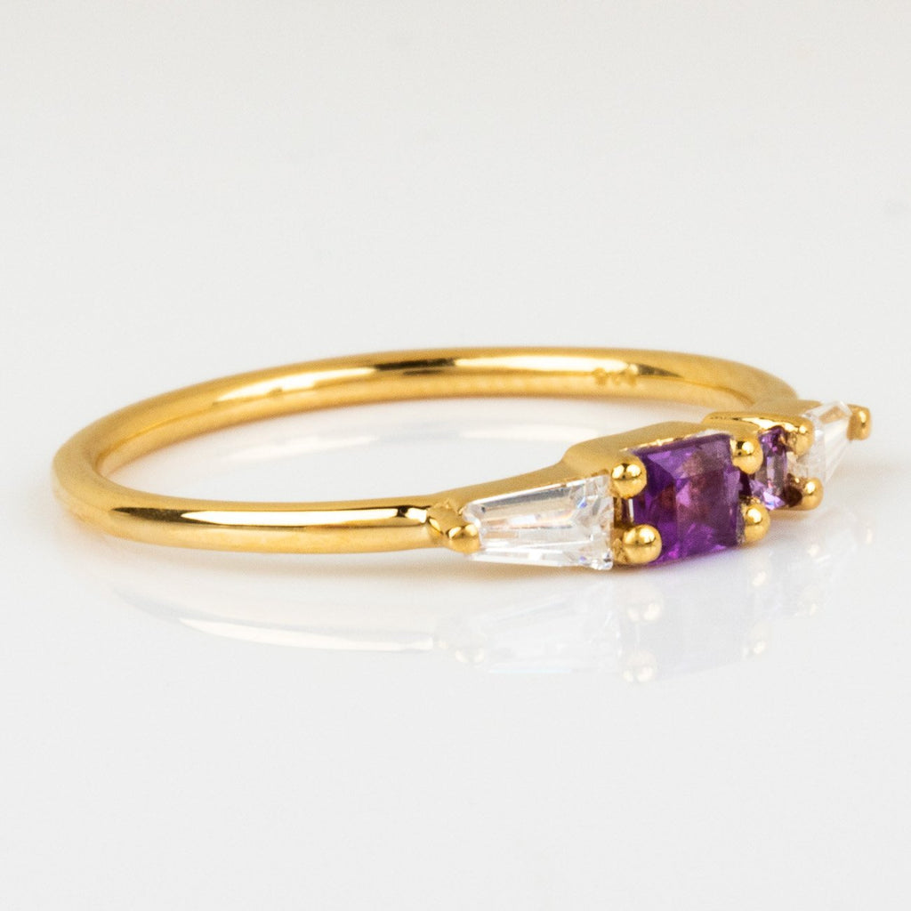 Modern Yellow Gold Purple Amethyst Zircon Ring