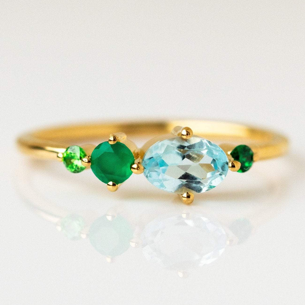 Sky Blue Topaz Green Onyx Zircon Gemstone Ring