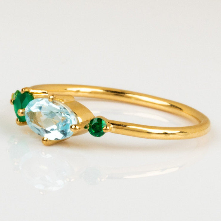 Green Onyx Zircon Blue Topaz Yellow Gold Gemstone Ring
