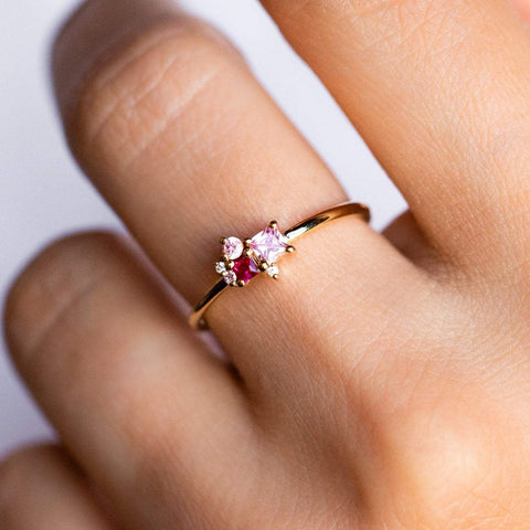 Pink Zircon CZ Cluster Dainty Yellow Gold Ring