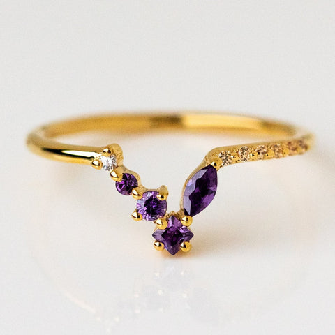 Amethyst Champagne Zircon Unique Dainty Stacking Ring