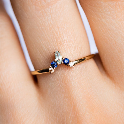 Dainty Crown Inspired Sky Blue Sapphire CZ Zircon Yellow Gold Stacking Ring