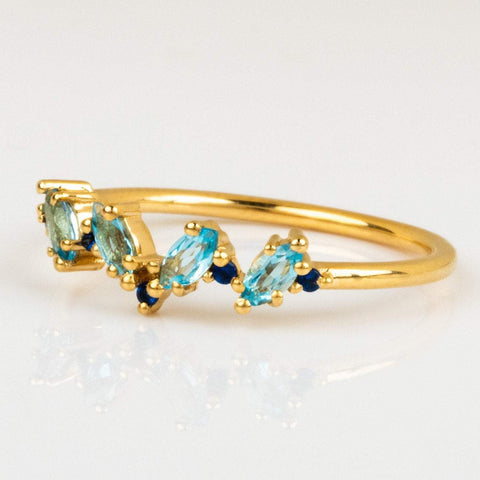 Blue Topaz Sapphire Blue CZ Unique Yellow Gold Marquis Gemstone Ring