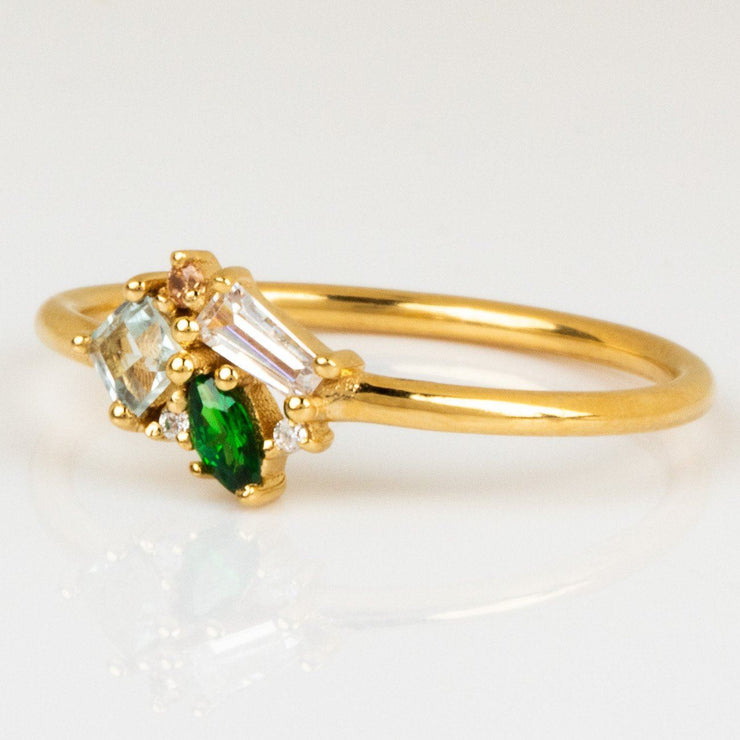 Emerald Gemstone Champagne CZ Blue Sky Topaz Yellow Gold Cluster Ring